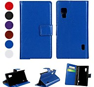 Solid Color PU Leather Full Body Case with Stand and Card Slot for LG L5 II (Assorted Colors)