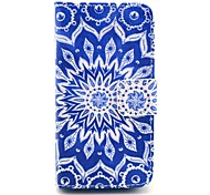 Blue Mandala Pattern PU Leather Full Body Case for iPhone 4/4S