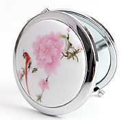 1 Pcs Handmake Ceramics Portable And Nation Style Butterfly Flowers Round Mirror