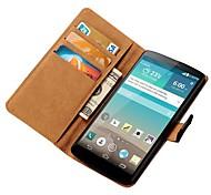 pu caso carteira de couro para LG Optimus g3 d850 d855 com slots de stands e cartão