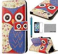 COCO ® FUN Coruja Flor Azul Padrão PU Leather Case Full Body com Filme, Stand e Stylus para iPhone 5/5S