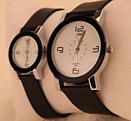 Coway Eiffel Tower Couple's Round Black Dial Black Leather Band Quartz Analog  Waterproof Wrist Watch(2PCS)
