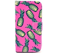 Pink Pineapple Pattern PU Leather Case with Stand and Card Slot for LG G2