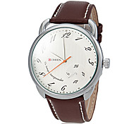 Ronde Simple Hommes Dial PU bande de quartz analogique montre occasionnelle (couleurs assorties)