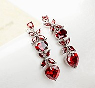Gorgeous Heart Shape  Multicolor Crystal Drop Earrings
