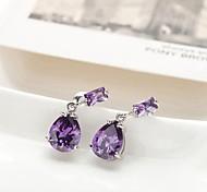 Korean Style Fashion Multicolor Crystal Tear  Platinum Plated Alloy Drop  Earrings