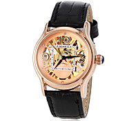 Women's Auto-Mechanical Gold Skeleton Leather Band Wrist Watch (Assorted Colors) Cool Watches Unique Watches