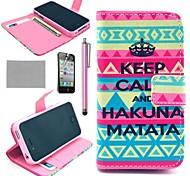COCO FUN ® K14 tapis Motif tribal pochette en cuir PU cas avec le stand pour l'iPhone 4S Inclus Film et Stylus