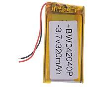 3.7V 320mAh Lithium Polymer Bateria para celulares MP3 MP4 (4 * 20 * 40)