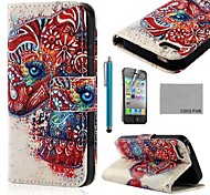 COCO FUN ® Red Elephant PU Leather Full Body hoesje met Screen Protector, Stand en Stylus voor iPhone 4/4S