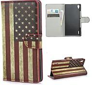 Retro EE.UU. bandera americana funda cartera de cuero con el soporte y ranura para tarjeta para Huawei Ascend P7