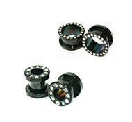 (7mm 14mm) Men's Punk Titanium Rhinestone  Expansion Earlobe Plug (1 Pc)