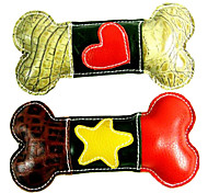 """HEART "" Pattern Bone Shape Genuine Leather Chewing Toy  for Pets Dogs"