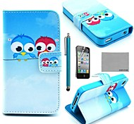 COCO FUN® Cute lover Owl Pattern PU Leather Full Body Case with Screen Protector, Stand and Stylus for iPhone 4/4S