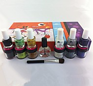 14PCS Blue Series Nail Art Suits(Nail Polish,Velvet,Brush,Top Coat)
