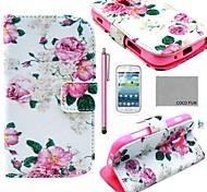 Coco divertido ® Modelo color de rosa de la flor caja de cuero de la PU con el protector de pantalla y el stylus para samsung galaxy dúos tendencia