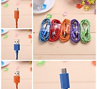 1M Nylon Braid Micro USB Portable Charging Cable for Samsung/HTC/Nokia/MX3
