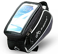 INBIKE 5.5 Inch Polyester and EVA Black and Gray Bicycle Front Bag with Transparent PVC Touchable Mobile Phone Screen