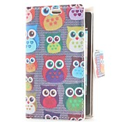 Owls Style Leather Case with Card Slot and Stand for LG E400/Optimus L3