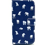 Elephant Cartoon Pattern PU Leather Case with Stand and Card Slot for LG G2