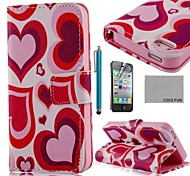 COCO FUN ® Red Heart PU Leather Case cuerpo completo con protector de pantalla, Stand and Stylus para iPhone 4/4S