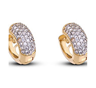 nova chegada de ouro 18k das mulheres banhado moda venda quente rodada brincos zircão branco er0445