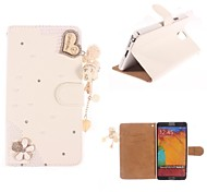 Rhinestone Handmade Bling Heart-Shaped Design Leather Case for Samsung Galaxy Note3 N9000