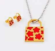 Fashion Flower Titanium Steel Gold Plated  Lock Necklaces and Earrings Jewelry Sets
