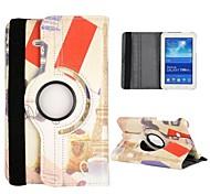 Eiffel Tower Pattern 360 Rotatable Auto Sleep/Wake Leather Case for Samsung Galaxy Tab 3 Lite T110