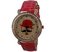 Sombrero pu banda de cuarzo reloj de pulsera de mujer (varios colores)