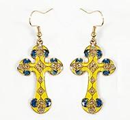 Chic (Cross) Copper Enamel Earrings (Yellow Red Purple) (1 Pair)