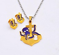 Fashion Purple Octopus Anchor Titanium Steel  Necklaces and Earrings Jewelry Sets