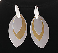 Fashion Stainless Steel Leaf Shape Drop Earrings(1 Pair)