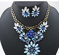 Diamond Flowers  Alloy (Necklaces&Earrings&) Gemstone Jewelry Sets(Blue)