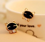 Rhinestone Earring Lovely Cats Exquisite Earrings a Pair