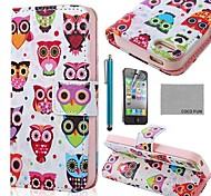 COCO FUN® Colorful Cute Owl PU Leather Full Body Case with Screen Protector, Stand and Stylus for iPhone 4/4S