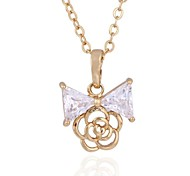 New 18k gold plated Fashion Stylish Elegance Rose & Bow Bowknot Pendant Necklace D0590