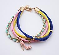 Multilayer Colorful High Heels Handmade Leather Bracelet