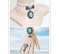 Ocean Princess with Blue Artificial Stone Classic Lolita Accessories Set(Bracelet/Necklace)