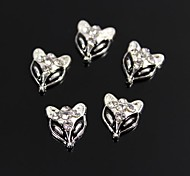 10pcs Fox Design Black Drip Oil Clear Rhinestone 3D Alloy Nail Art Decoration