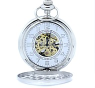 Men's Mechanical Gold Skeleton Silver Alloy Pocket Watch