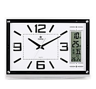 "POWER™ 13.4""H Upscale Style Rectangle Shape LED Perpetual Calendar Temperature Noctilucence Super Mute Wall Clock"