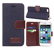 Solid Color Denim Design PU Full Body Case with Card Slot for iPhone 6 (Assorted Color)