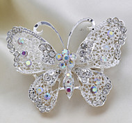 Fashion Pastoralism Butterfly Silver Alloy Rhinestone Brooches(1 Pc)