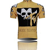 XINTOWN Men 's Skeleton Breathable Polyester Short Sleeve Cycling Jersey—Yellow+Black