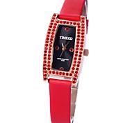 Time100 Women European&American Arc OL Gem Rhinestone Rectangular Dial PU Strap Quartz Watch