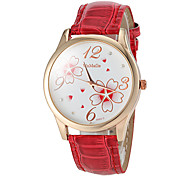 Women's Watch Flower Pattern Gold Case