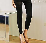 Leggings Breathability / Wearable Cotton / Spandex Smooth Ankle-Length Medium Waist Medium Black