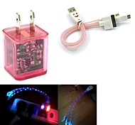 LED Flashing Light Dual USB 2-Port Charger Adapter PLUS Smiling Face 3in1 USB Cable for Samsung/iPhone/iPad/HTC AQ Suit
