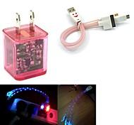 conduit de lumière double usb 2 ports adaptateur chargeur clignote, plus souriant câble USB 3in1 de visage pour samsung / iphone / ipad / costume aq